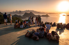 People Watching Sunset in Rio de Janeiro from Niteroi Stock Image