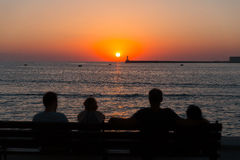 People watching the sunset in Sevastopol Stock Images