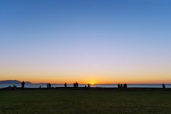 People watching the sunset in Sopelana Stock Image