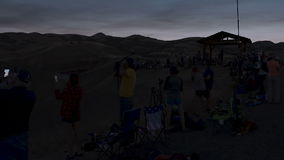 People watching a total solar Eclipse stock footage