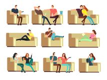 People watching tv, resting with phone, snacking on couch. Characters on holiday vector set. Couple man and woman on couch with tv illustration Stock Photos