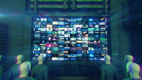 People Watching TV (Zoom to Screen) Animation stock footage