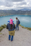 People watching the view at Quilotoa lake Royalty Free Stock Photo