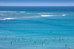 People in the water. At the beach at Waikiki, Hawaii Royalty Free Stock Photos