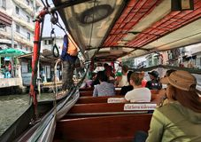 People at water bus in Bangkok Royalty Free Stock Photos