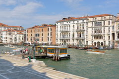 People at the water bus stop Salute in Venice, Italy Royalty Free Stock Image
