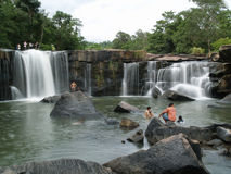 People at a waterfall in Thailand Stock Photos
