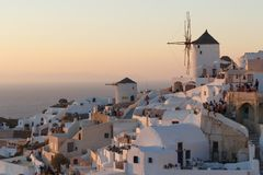 People wating for sunset in Oia Royalty Free Stock Images