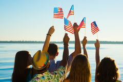 People waved American flags. Royalty Free Stock Photography