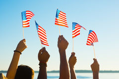 People waved flags. Stock Image