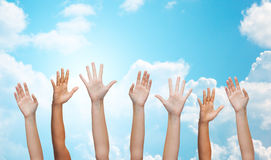 People waving hands royalty free stock photo