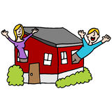 People waving from a tiny house Stock Photography