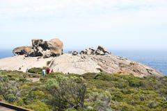 Remarkable Rocks - People on way to Remarkable Rocks, Kangeroo Island, Australia royalty free stock photos