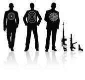 People and weapon. Businessman with different target sniper rifle Stock Photo