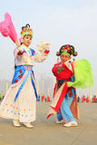 People wear colorful clothes, yangko dance performances in the s stock photo