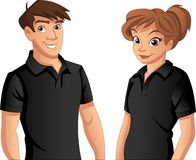 People wearing black polo shirt. Couple of cartoon young people wearing black polo shirt Stock Image