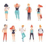 People Wearing Clothes with Tattoos Set, Men and Women with Tattoos on Different Parts of Body Vector Illustration royalty free illustration