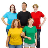 People wearing different colored blank shirts royalty free stock images