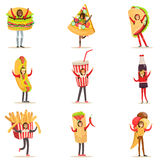 People Wearing Fast Food Snacks Costumes Disguised As Cafe Menu Items Set Of Cartoon Characters Stock Image