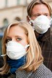 People Wearing Flu Protection Masks Stock Photos