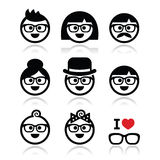 People wearing glasses, geeks icons set. Vector icons set of people in glasses of different ages royalty free illustration