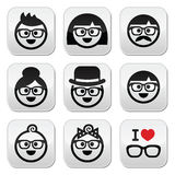 People wearing glasses, geeks icons set Stock Photography