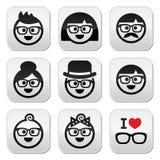 People wearing glasses, geeks icons set. Vector icons set of people in glasses of different ages stock illustration