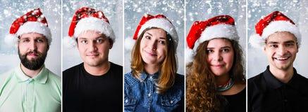 People wearing Santa hat Royalty Free Stock Photo