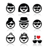 People wearing sunglasses, holidays icons set Royalty Free Stock Image