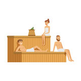 People wearing towels relaxing in sauna steam room, spa procedures colorful vector Illustration Stock Photos