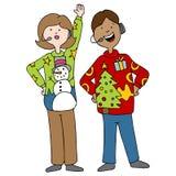 People Wearing Ugly Christmas Sweaters Stock Image