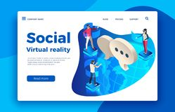 People wearing virtual headset. Isometric augmented future, woman and man in goggles vector illustration. People wearing virtual headset. Isometric augmented stock illustration