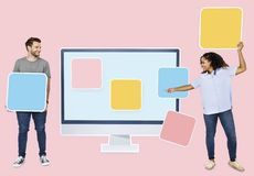People with web template icons royalty free stock photos