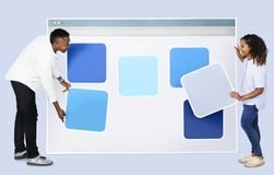 People with web template icons stock photo