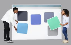 People with web template icons royalty free stock image
