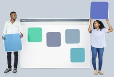 People with web template icons stock photography
