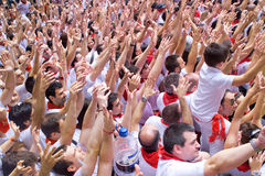 People welcome opening of San Fermin Royalty Free Stock Photography
