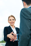 People welcoming with business handshake Stock Photography