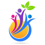 People wellness logo health care nature leaf sun symbol vector icon design. Stock Photo