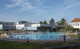 People in wellness swiming pool. Outside in the german city Nad Bentheim Royalty Free Stock Image