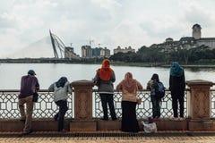 People were looking Seri Wawasan bridge from Putra Mosque in Wilayah Persekutuan Putrajaya, Malaysia.  Royalty Free Stock Photos