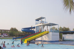 People were swimming in the water park in the summer. Many people come to swim in the water park in the summer Royalty Free Stock Photography