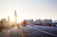 People on Westminster Bridge at sunset, London, UK Royalty Free Stock Images