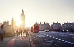 People on Westminster Bridge at sunset, London, UK Royalty Free Stock Photos
