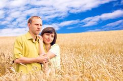 People in wheat field Stock Photo