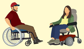 People in Wheelchairs. Disabled man and woman sitting in wheelchair Royalty Free Stock Photo