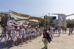 People in white dresses on the Japanese traditional parade on EXPO 2015 Stock Images