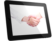 People in white handshaking on Tablet Stock Photography