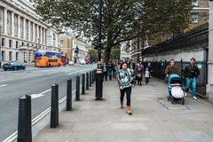People on whitehall street in London, England Royalty Free Stock Image