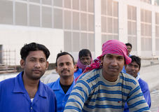 The people who constructed dubai. Workers at the work place in dubai Royalty Free Stock Photography